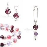 Серьги, ожерелье, брошь (комплект украшений Bella фиолетово-розовый)