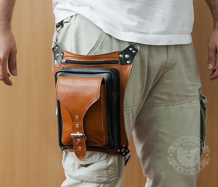 BAG369-6 Крутая мужская сумка на бедро из натуральной кожи, ручная работа фото 11