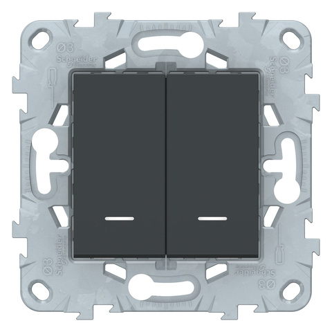 Выключатель двухклавишный с подсветкой. Цвет Антрацит. Schneider Electric Unica New. NU521154N