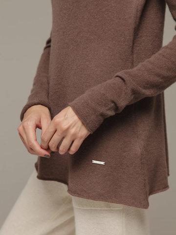 Женский коричневый джемпер с высоким горлом из 100% кашемира - фото 4