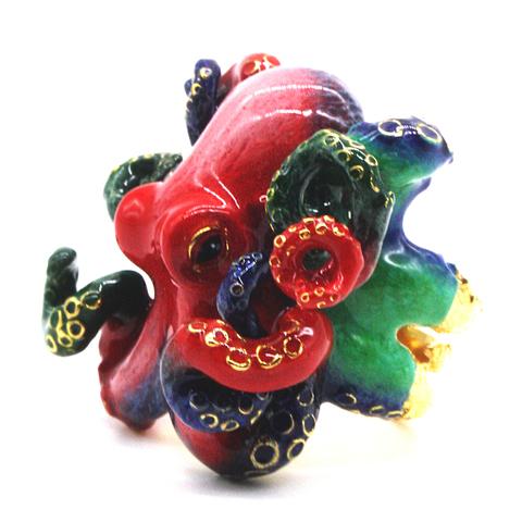Кольцо Осьминог Красный