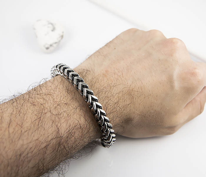 BM525-1 Мужской браслет цепь из стали и кожаного шнура (21 см) фото 08