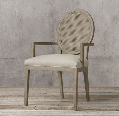 French Contemporary Round Cane Back Fabric Armchair