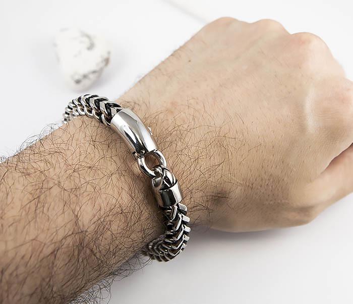 BM525-1 Мужской браслет цепь из стали и кожаного шнура (21 см) фото 09