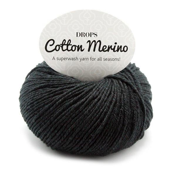 Пряжа Drops Cotton Merino 02 черный
