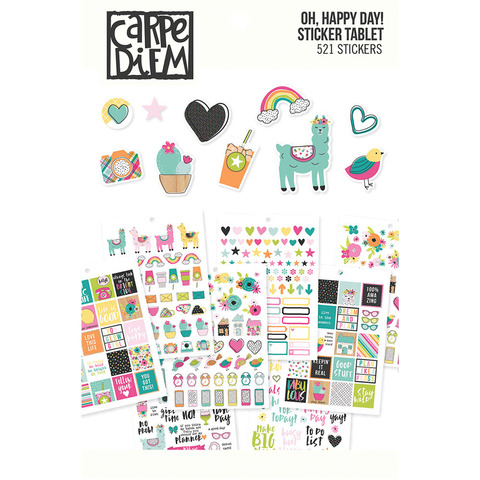 Стикербук - Carpe Diem A5 Planner Sticker Tablet- Oh, Happy Day!-521 шт