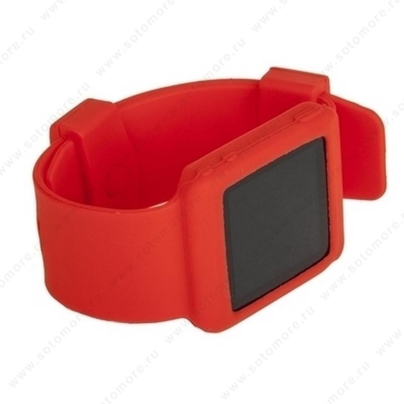 Сменный ремешок силиконовый для Apple iPod nano 6 в виде браслета красный