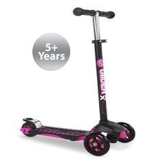 Детский трехколесный самокат для девочек Yvolution Glider XL Deluxe розовый