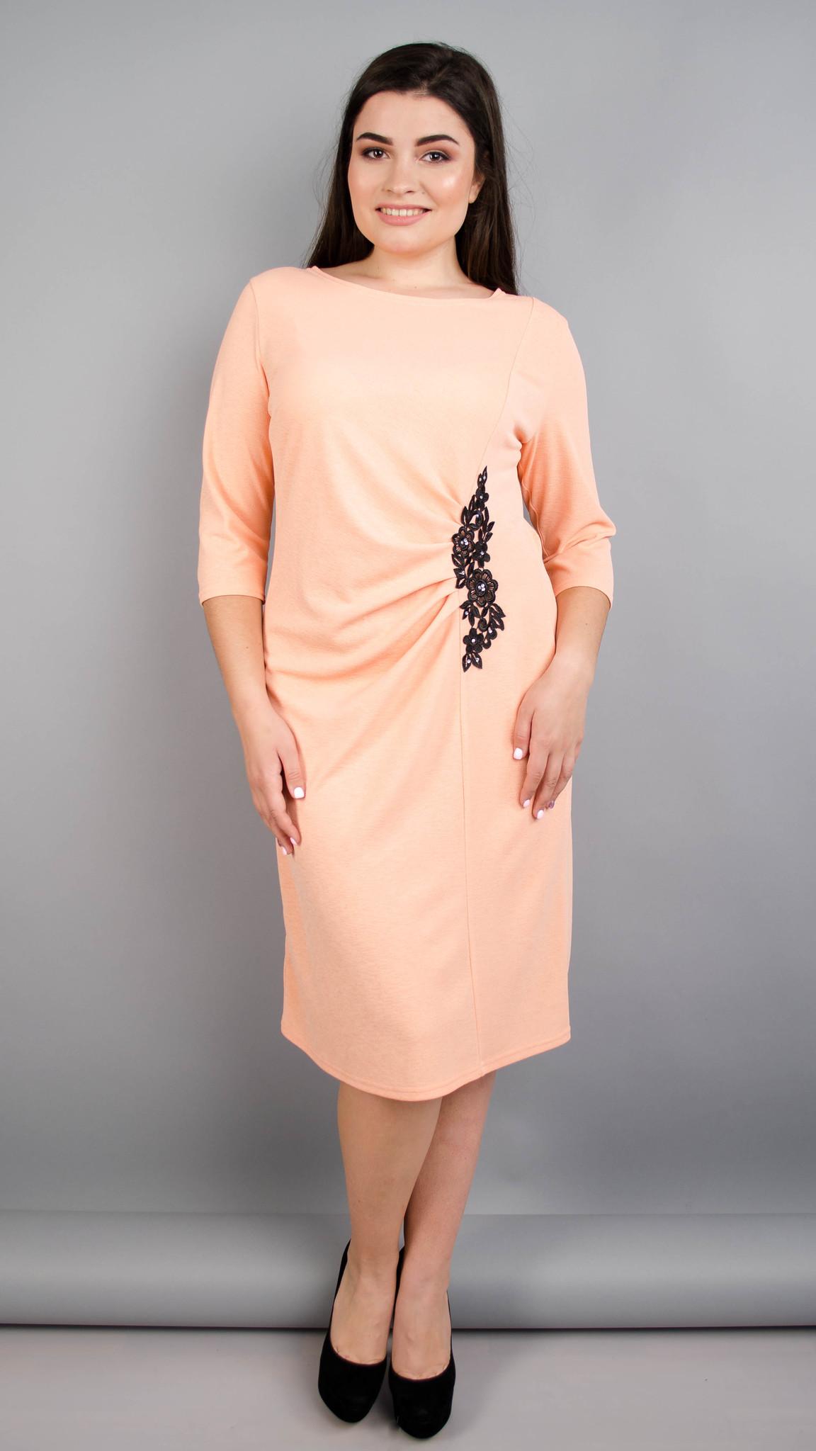 Тейлор. Гарна жіноча сукня плюс сайз. Персик.