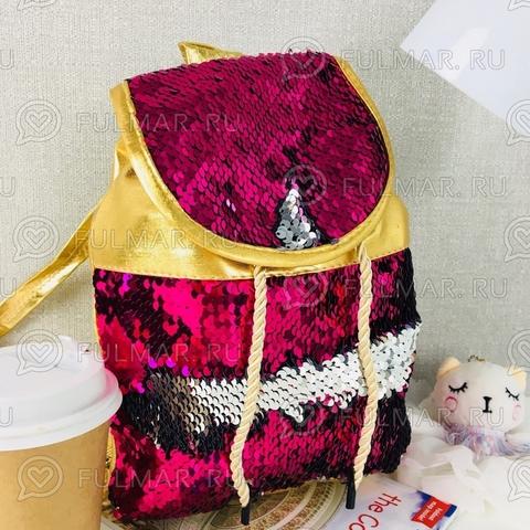 Рюкзак-мешок золотистый с пайетками меняет цвет Малиновый-Серебристый Мини