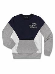 BAC003296 Джемпер для мальчиков, серый меланж-синий
