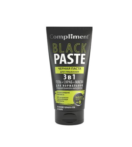 Compliment Black Paste Черная паста для умывания 3 в 1 гель, скраб, маска