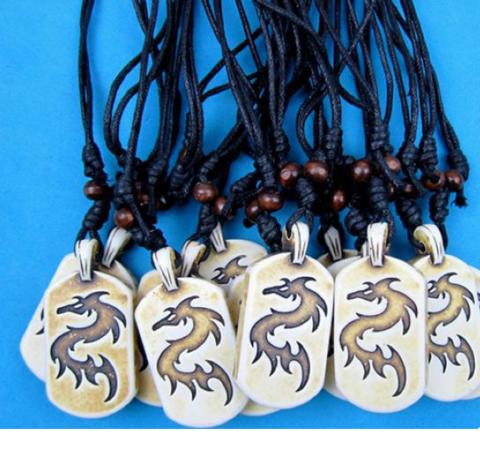 Кулон на шнурке дракон