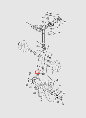 Втулка поворотного кронштейна  для лодочного мотора T15, OTH 9,9 SEA-PRO (14-11)