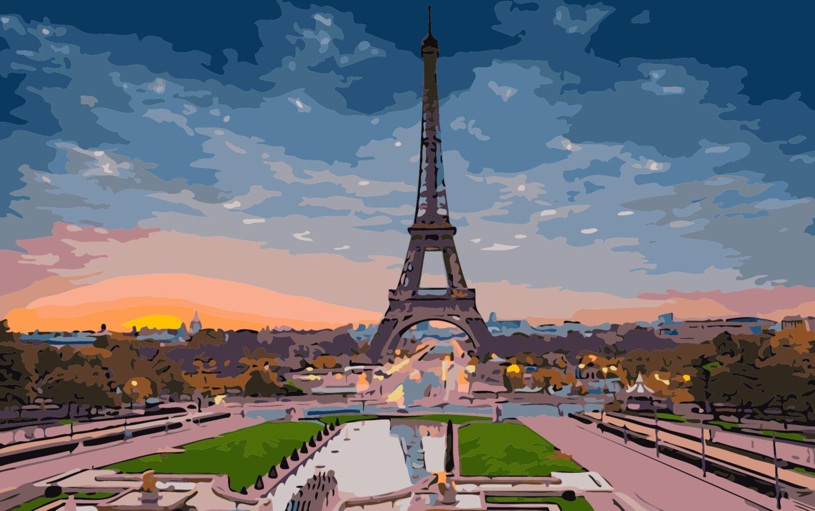 Картина раскраска по номерам 40x50 Эйфелева башня– купить ...