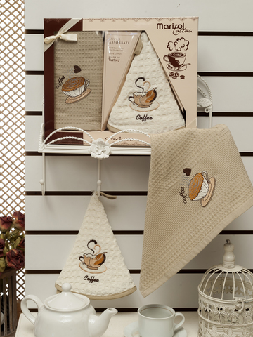 Салфетки METEOR вафельные  с вышивкой  в коробке  (50*50)(50*70) 2 шт. MARISOL KAHVE