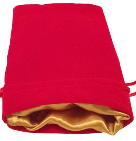 Красный бархатный мешочек для кубиков с золотой атласной подкладкой