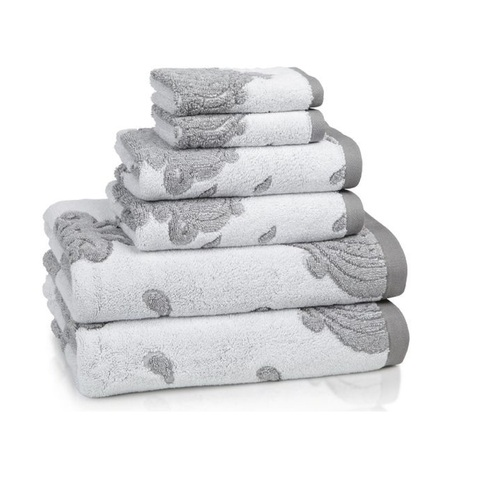 Полотенце 76х132 Kassatex Roma Tile Grey белое