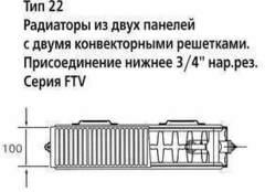 Радиатор Kermi Therm X2 Profil-V FTV тип 22 - 500х1000 мм