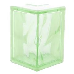 Угловой стеклоблок зеленый окраска в массе Vitrablok 19x13x13x8