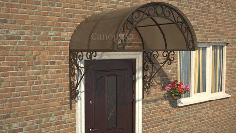 Кованый козырек №12 с бронзовым поликарбонатом над входной дверью