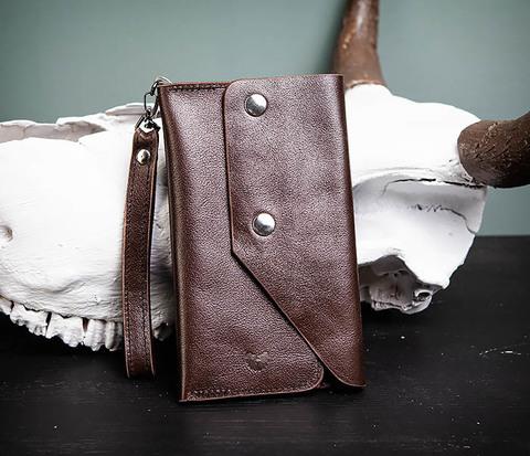 Вместительный кошелек (клатч) из натуральной кожи, ручная работа