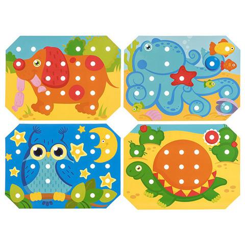 Деревянная мозаика-шнуровка, 9 карточек 6