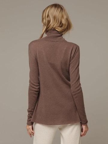 Женский коричневый джемпер с высоким горлом из 100% кашемира - фото 2