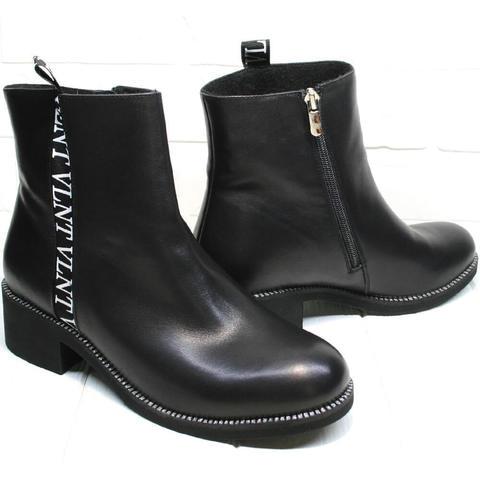 Кожаные ботильоны демисезонные женские. Высокие женские ботинки полусапожки женские без каблука Jina LB
