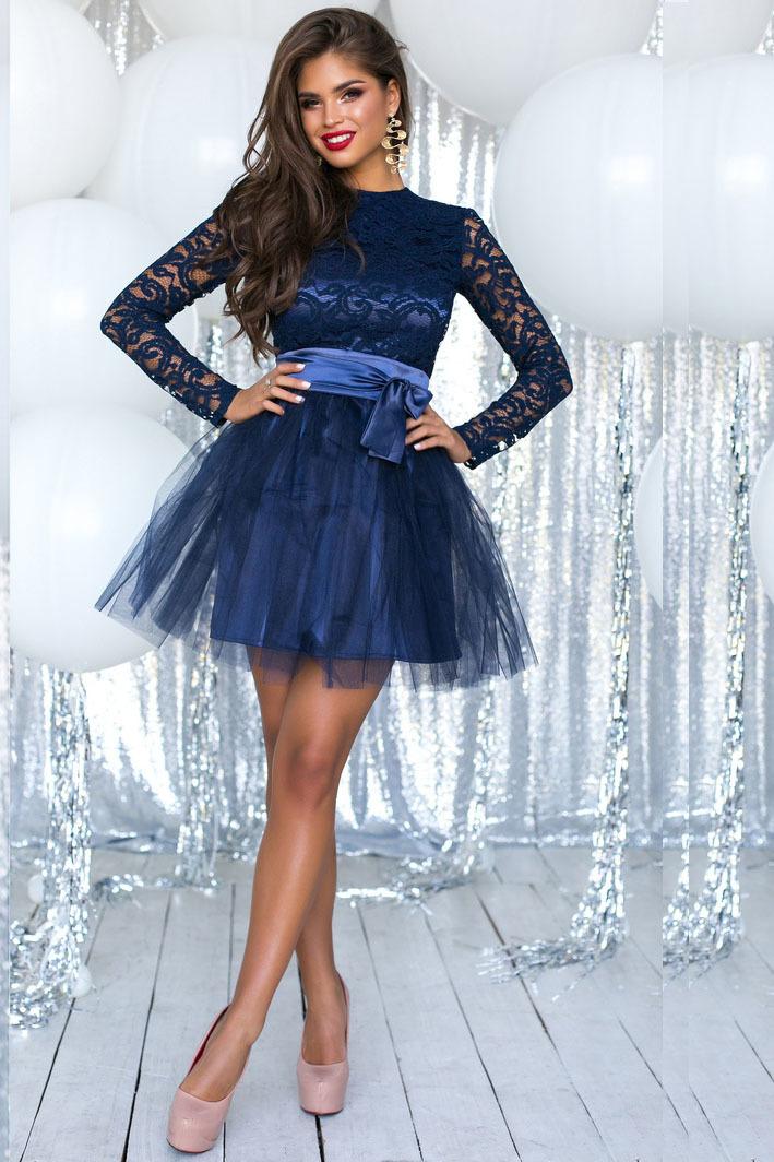 4c794a22ae4a Короткое кружевное платье с пышной юбкой юбкой из фатина, темно-синее 1