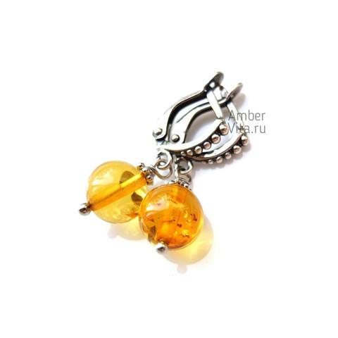 серьги с жёлтым янтарём