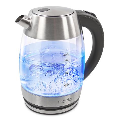 Чайник стеклянный MARTA MT-4562 серый жемчуг