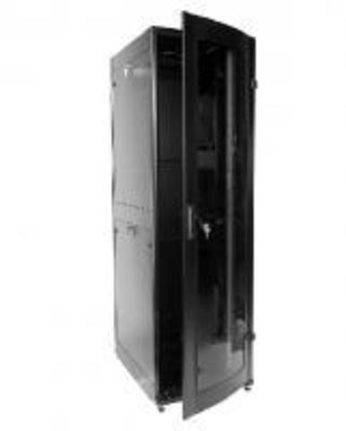 Шкаф телекоммуникационный напольный ПРОФ универсальный 42U (600 x 600) дверь стекло, чёрный, в сборе