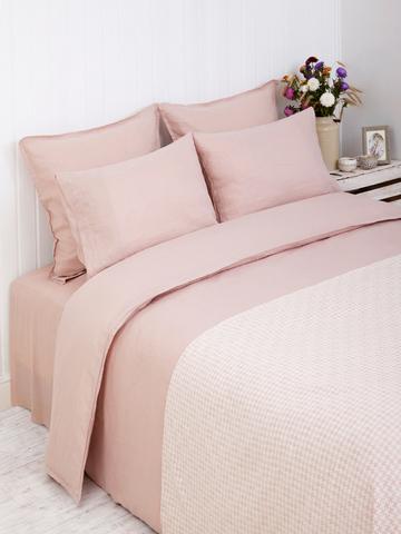 Простыня на резинке 90х200х30 Bovi (LB) Linen розовая