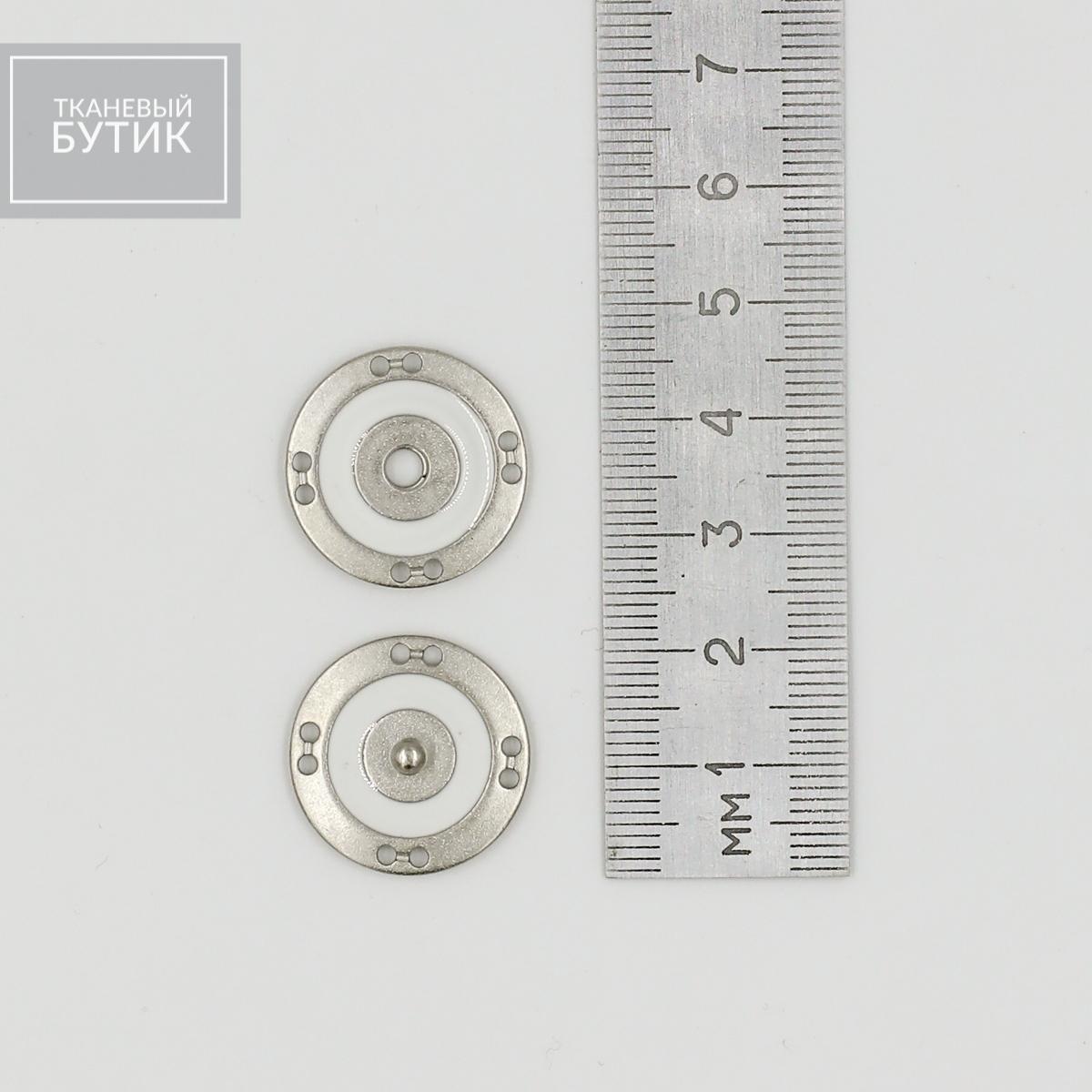 Круглая металлическая кнопка с белой эмалью