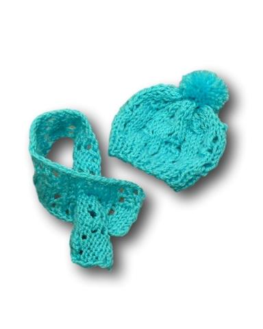Шапка и шарф - Бирюзовый. Одежда для кукол, пупсов и мягких игрушек.