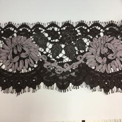 Кружево SH Chantilly Cotton черное расшитое