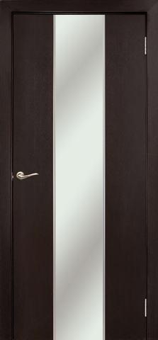 Дверь Дубрава Сибирь Гранд, зеркало с рисунком/молдинг серебро, цвет венге, остекленная