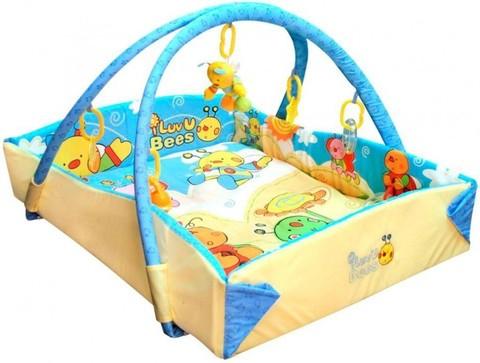 Игровой коврик для новорожденных с бортами Baby Mix Пчелки