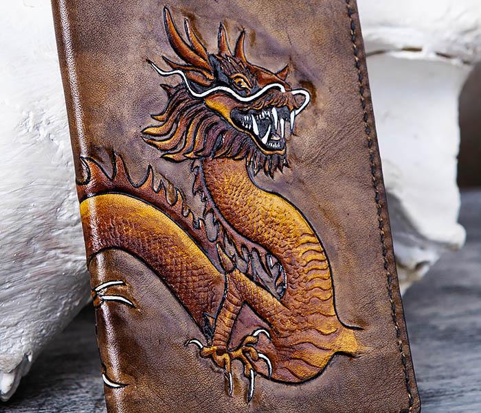 BC165 Кожаная обложка на паспорт с китайским драконом фото 02