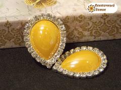 Камень-капля керамический в стразовом обрамлении желтая