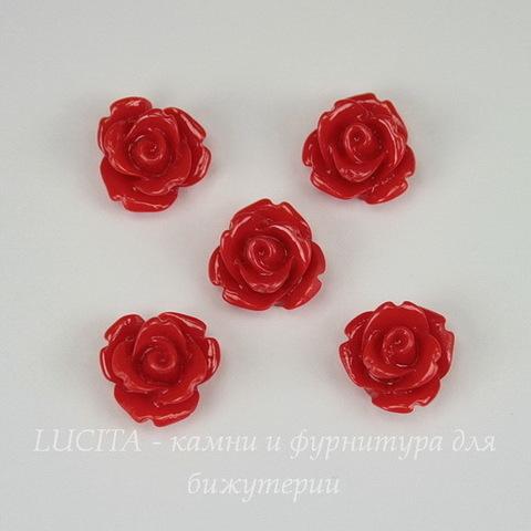 """Кабошон акриловый """"Розочка"""", цвет - красный, 10 мм, 5 штук"""