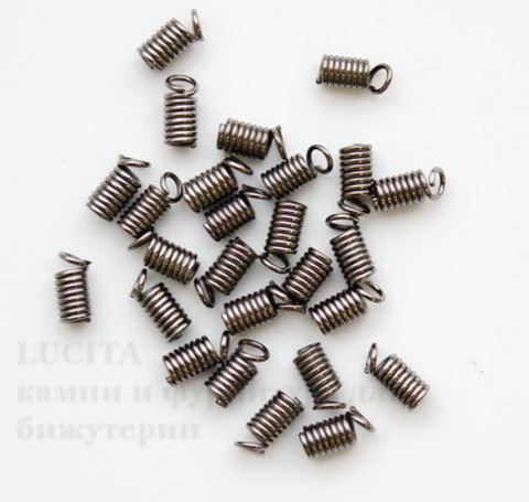 Пружинка для шнура 2,5 мм, 9х4 мм (цвет - черный никель), 10 штук