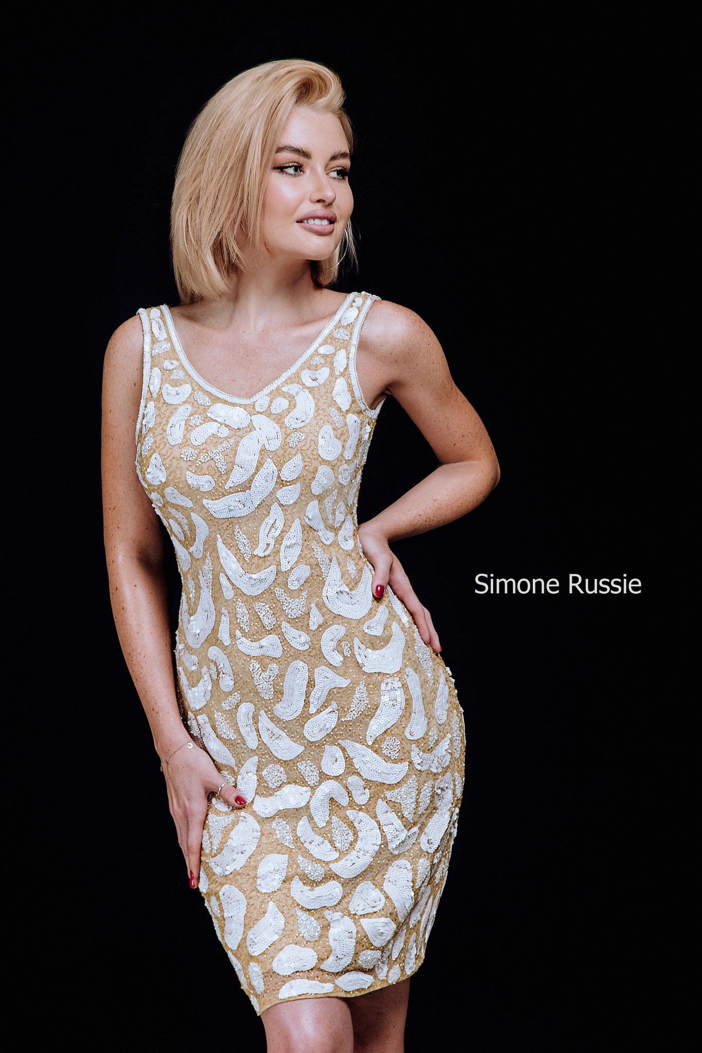 Simone Russie SR1950 Коктейльное платье средней длины с ручной вышивкой