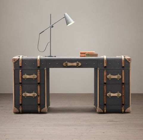 Richards' Trunk Desk - Charcoal Canvas