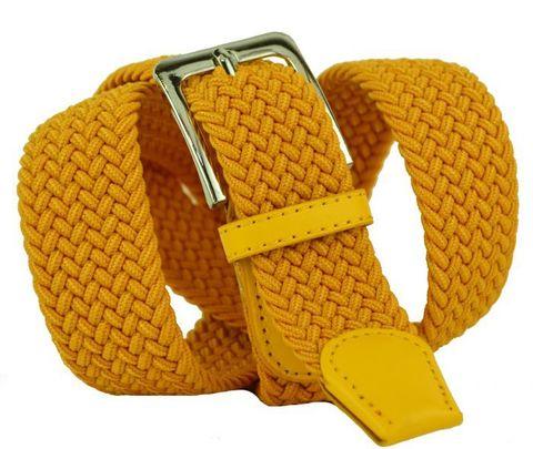Ремень-резинка текстильный эластичный брючный тёмно-жёлтый почти оранжевый 35 мм 35Rezinka-101