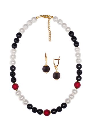 Комплект Giorno e Notte черно-красный (серьги на серебре, ожерелье)