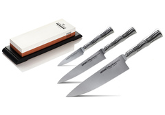Набор из 3 ножей Samura BAMBOO и точильного камня Nakatomi BN-1300/M