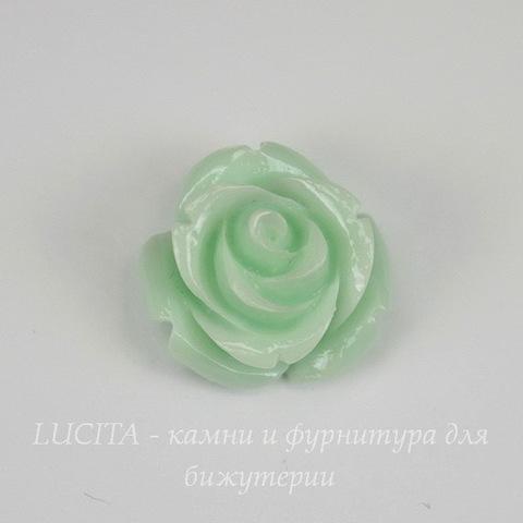 """Кабошон акриловый """"Розочка"""", цвет - пастельно-зеленый, 16 мм"""