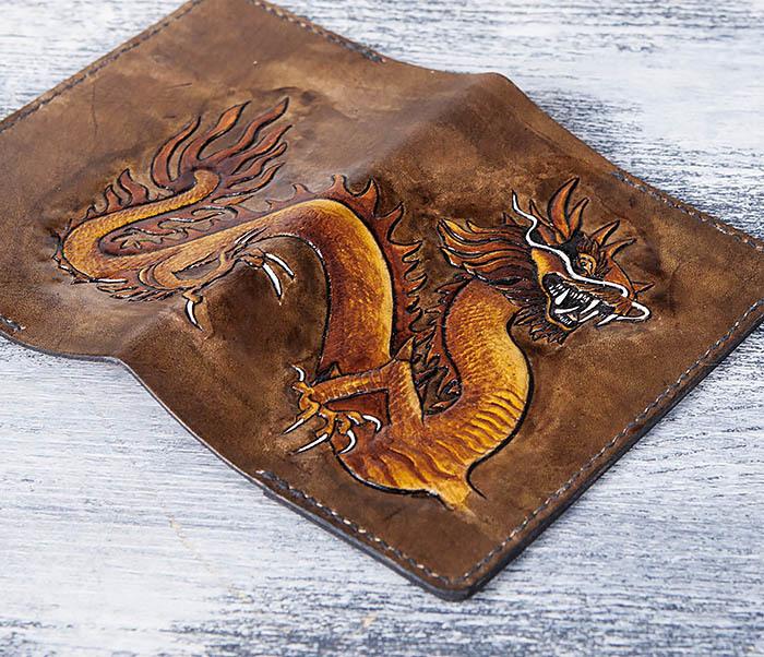 BC165 Кожаная обложка на паспорт с китайским драконом фото 05